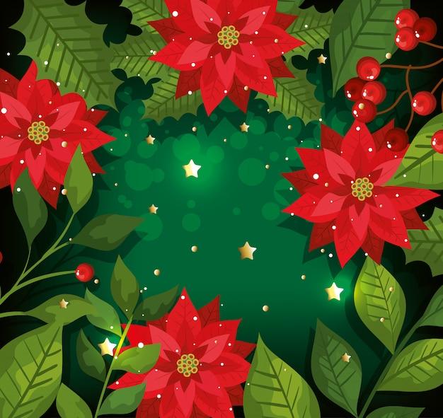 Kerst achtergrond met bloemen en decoratie