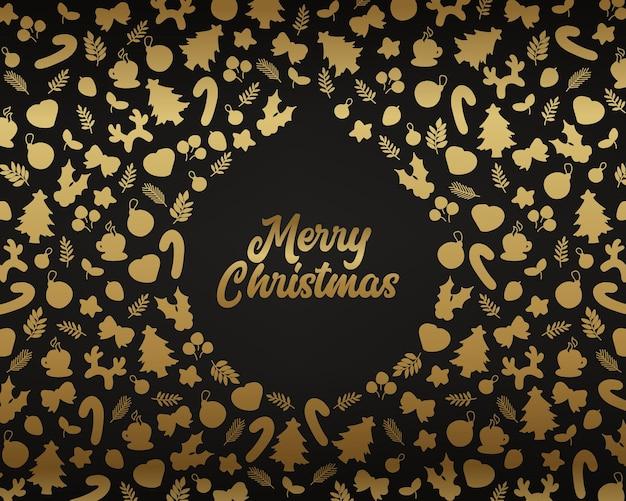 Kerst achtergrond met doodle pictogram patroon
