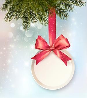 Kerst achtergrond met een label en een strik.