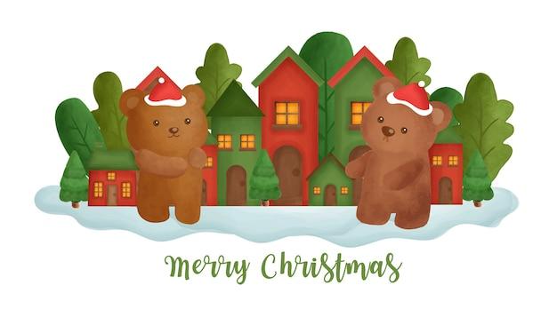 Kerst achtergrond met een schattige beren in het dorp.