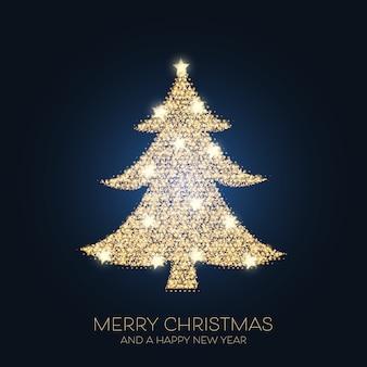 Kerst achtergrond met een sprankelend boomontwerp