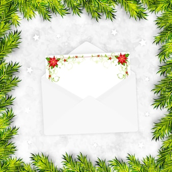 Kerst achtergrond met enveloppe