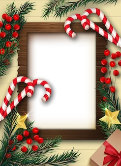 Kerst achtergrond met frame en decoraties