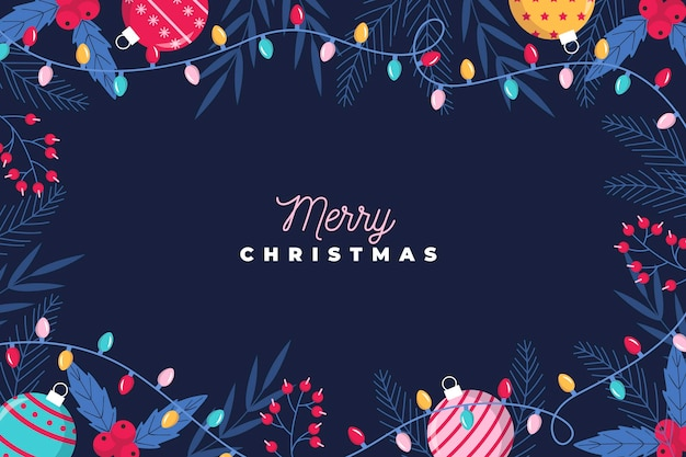 Kerst achtergrond met geïllustreerde elementen
