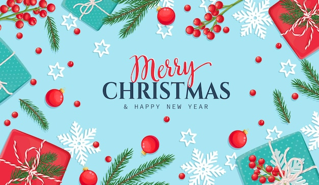 Kerst achtergrond met geschenkdoos, sneeuwvlokken, kerstballen en dennentakken.