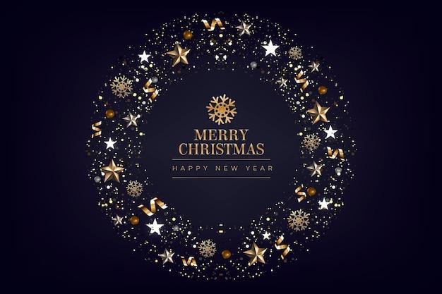 Kerst achtergrond met glanzende decoratie