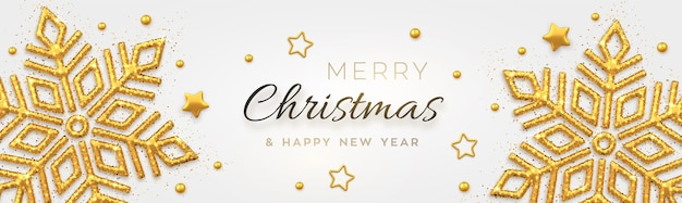 Kerst achtergrond met glanzende gouden sneeuwvlokken, sterren en kralen. merry christmas wenskaart.