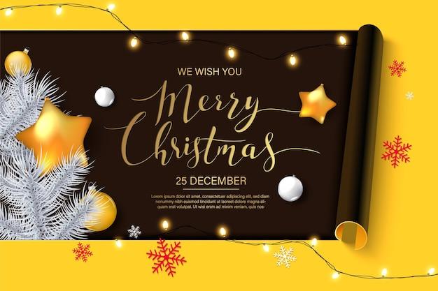 Kerst achtergrond met glanzende gouden sneeuwvlokken.