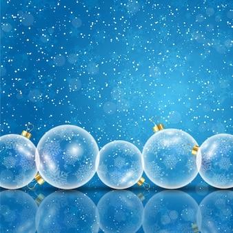 Kerst achtergrond met glazen kerstballen