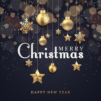 Kerst achtergrond met gloeiende stippen licht gouden sterren bubbels en sneeuwvlokken
