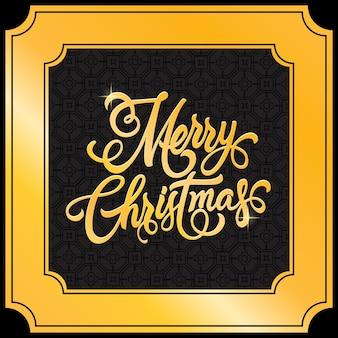 Kerst achtergrond met gouden frame