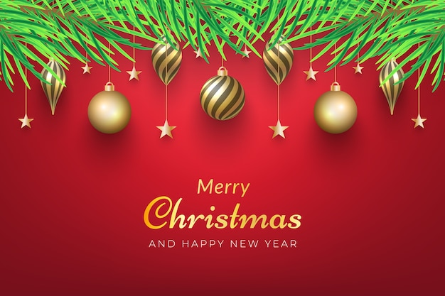 Kerst achtergrond met gouden ornamenten opknoping op de boom.
