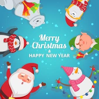 Kerst achtergrond met grappige personages. ontwerpsjabloon met plaats voor uw tekst. kerst banner kaartsjabloon met sneeuwpop en elf illustratie