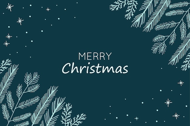 Kerst achtergrond met hand getrokken fir takken