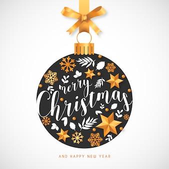 Kerst achtergrond met hand getrokken ornamenten