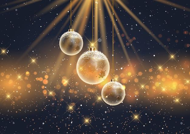 Kerst achtergrond met hangende besneeuwde kerstballen