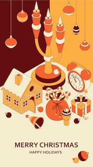 Kerst achtergrond met isometrische schattig speelgoed. kandelaar en peperkoekhuis