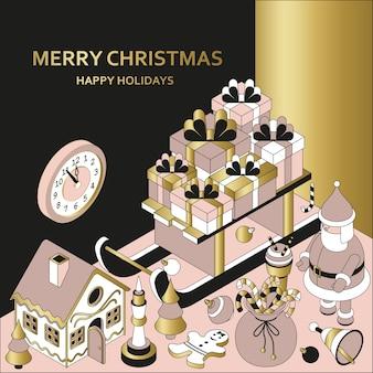Kerst achtergrond met isometrische schattig speelgoed. slee met geschenken en peperkoekhuisje