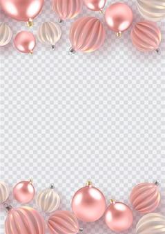 Kerst achtergrond met kerstballen van parel, een spiraal ballen op verticale achtergrond.