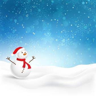 Kerst achtergrond met leuke sneeuwman in de sneeuw