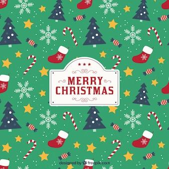 Kerst achtergrond met patroon stijl