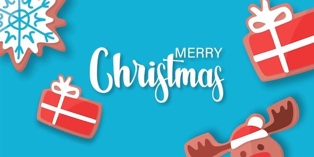 Kerst achtergrond met peperkoek, vector achtergrond walpaper grafische vakantie viering illustratie.
