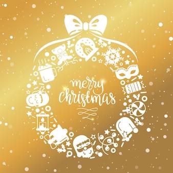 Kerst achtergrond met plat pictogrammen.