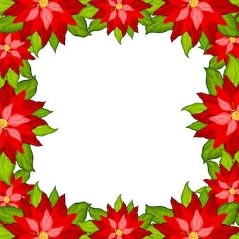 Kerst achtergrond met poinsettia frame vector