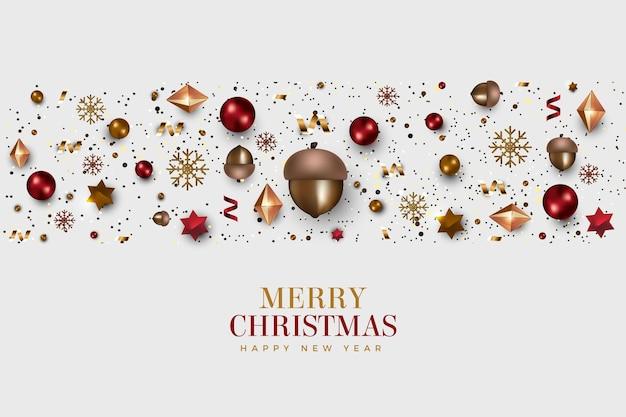 Kerst achtergrond met realistische decoratie