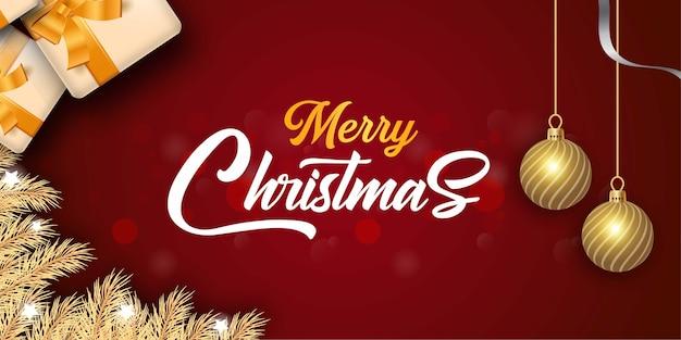 Kerst achtergrond met realistische geschenkdoos en ballen