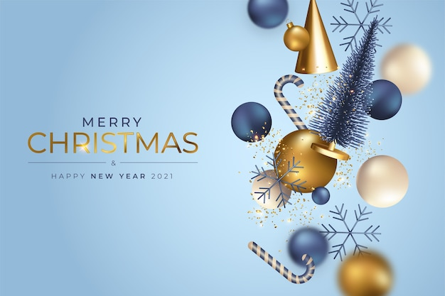 Kerst achtergrond met realistische vliegende ornamenten