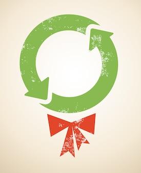 Kerst achtergrond met recycling-thema voor spandoek of poster