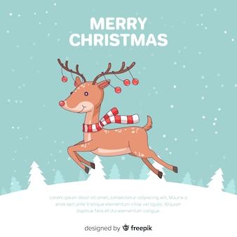 Kerst achtergrond met rendieren springen