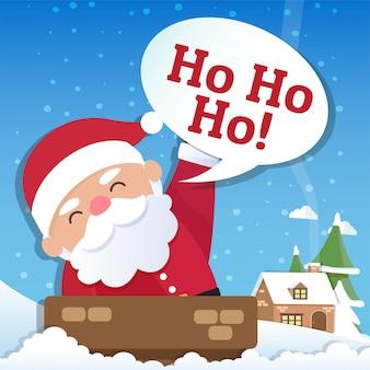 Kerst achtergrond met santa claus en merry christmas