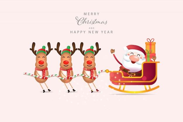 Kerst achtergrond met santa claus en rendieren