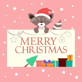 Kerst achtergrond met schattige dieren