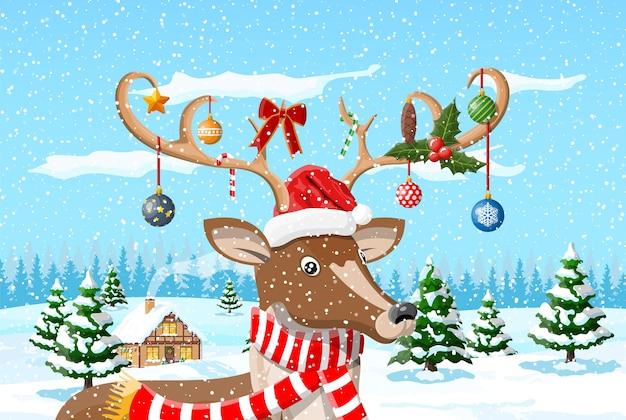 Kerst achtergrond met schattige herten