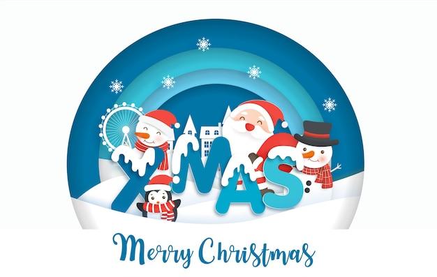 Kerst achtergrond met schattige kerstman en vrienden in papier gesneden stijl.