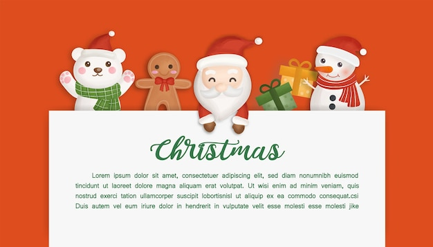 Kerst achtergrond met schattige kerstman en vrienden.