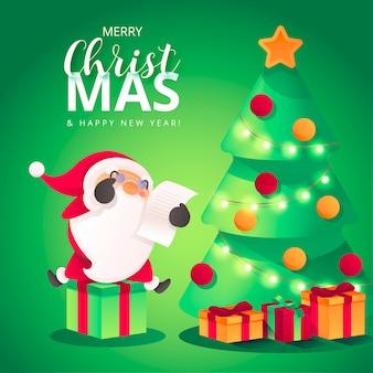 Kerst achtergrond met schattige santa leaving presenteert