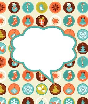 Kerst achtergrond met set van pictogrammen, retro stijl