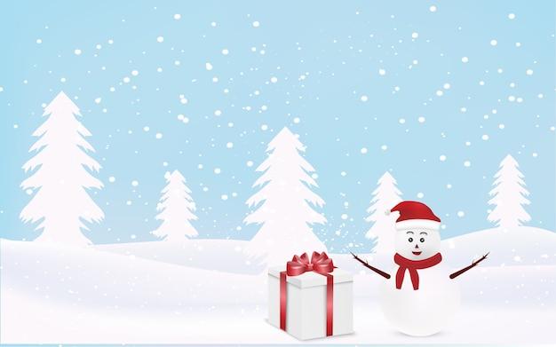 Kerst achtergrond met sneeuwpop
