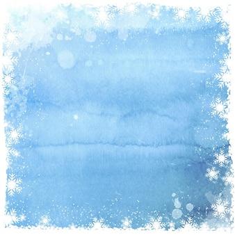 Kerst achtergrond met sneeuwvlok grens op waterverfontwerp