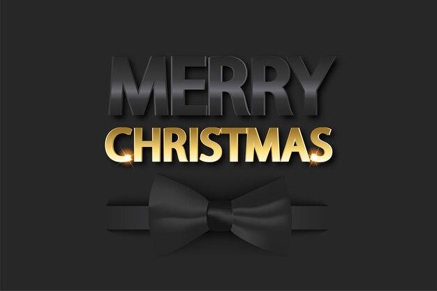 Kerst achtergrond met strikje. vrolijk kerstfeest op zwarte achtergrond met realistische strik.