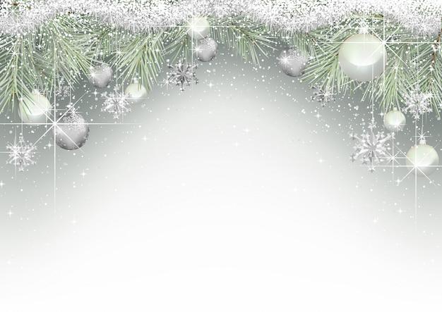 Kerst achtergrond met takken en ornamenten