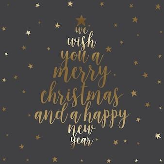 Kerst achtergrond met typografie ontwerp in de vorm van een kerstboom