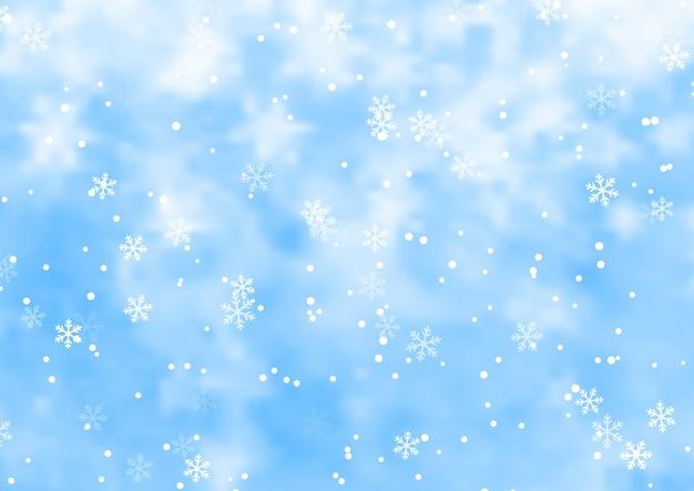 Kerst achtergrond met vallende sneeuwvlokken ontwerp