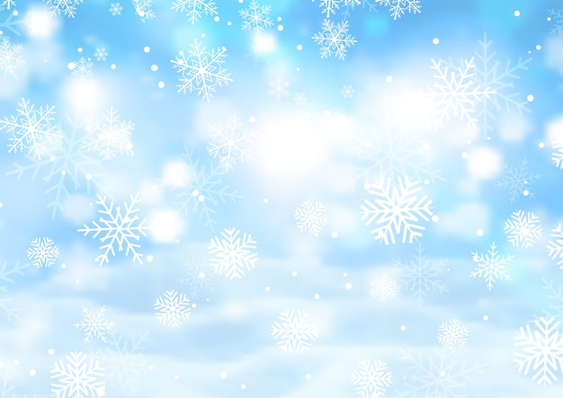 Kerst achtergrond met vallende sneeuwvlokken