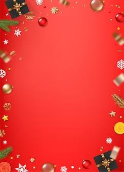 Kerst achtergrond met verschillende vakantie-elementen Premium Vector
