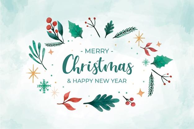 Kerst achtergrond met winter elementen frame vormen